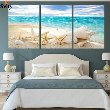 3 Pieces Wall Art Deco Seaview Sea Shells Modern Modular Picture Print On Canvas Painting Oil Paintings Home Decoration NO FRAME