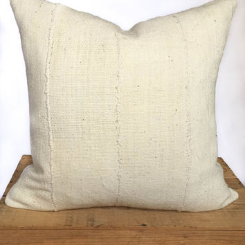 20 Inch Plain White African Mud Cloth Pillow Cover