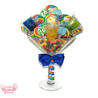 Large Martini Glass Rainbow Lollipop Candy Arrangement for 21st birthday and more, 21st birthday, candy martini, lollipop, 21, twenty first