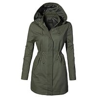 LE3NO Womens Fully Lined Oversized Long Anorak Parka Military Jacket with Pockets