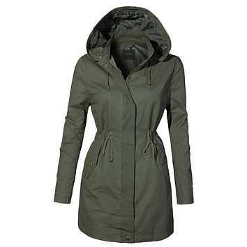 Fully Lined Oversized Long Anorak Parka Military Jacket with Pockets