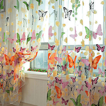 Romantic Butterfly Curtains yarn Tulle Curtain Customize Curtains For Living Window Curtain Screening