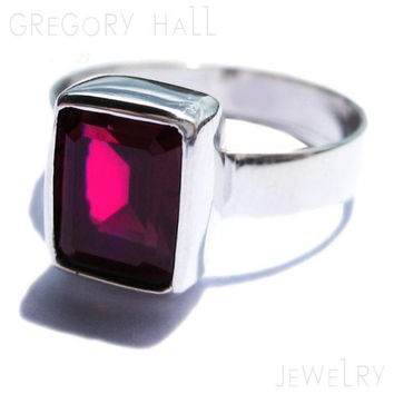 Rhodolite Garnet Ring 925 Sterling Silver Engagement Ring