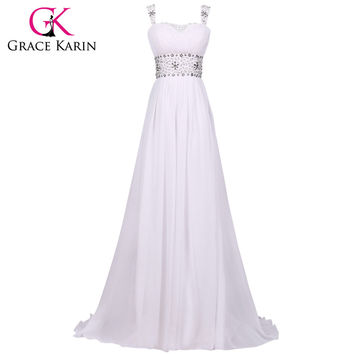 Cheap Wedding Dresses Grace Karin Floor Length Beach Wedding Dress White Crystal Bride Bridal Gown vestido de noiva Chiffon 4469
