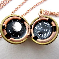 Moon Locket - made to order - Hand-painted Black and White in a Vintage Stock Brass Ball