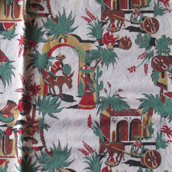 Vintage Fabric Remnant. Mexican Village. Novelty.