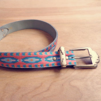 Vintage Nuovo Southwestern Fabric Belt with Silver Buckle