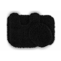 Serenity Washable Black Bath Rug (Set of 3)
