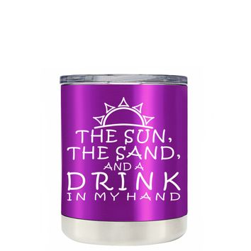 TREK The Sun The Sand and a Drink in my Hand on Violet 10 oz Lowball Tumbler