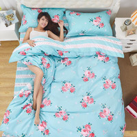 Summer Polyester cotton Duvet Cover set 4 pcs comforter Cover Bedding set lattice style Queen Full Twin  size