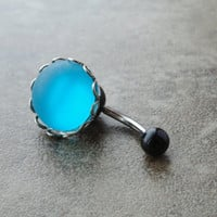 Glowing Turquoise Blue Belly Button Ring Jewelry