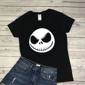 Halloween Witch Tshirt Women Funny Cool T Shirt The Nightmare Before Christmas shirts Skull Face Tops  Cotton T-Shirt drop ship