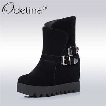 Oritina 2017 Fashion Womens Winter Ankle Buckle Strap Boots Platform Round Toe Slip On Shoes Non-slip Hidden Heel Boots Wedges