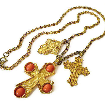 Kenneth Jay Lane, KJL Necklace, Medieval Cross, Charm Necklace, Baroque Roman, Orange Lucite, Vintage Jewelry