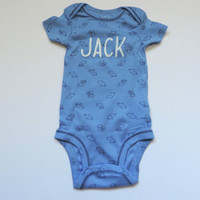 New Baby Boy Elephant Onesuit // CUSTOM NAME // Sizes 0-18 Months