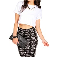 White Rolled Sleeve Crop Top