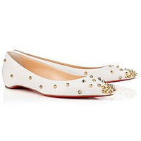 CL Christian Louboutin Women Rivet Flats Invisible Heels Shoes