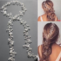 Metting Joura Wedding Party Silver Crystal Beads Pearl Headband Braided Knitted Handmade  Hairband Bride Bridal Hair Accessories