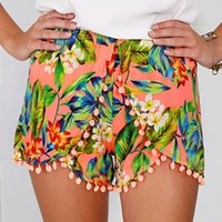 Peach Blue White Red Yellow Green Tropical Floral Elastic Waist Pom Pom Shorts