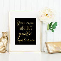 Real Gold Foil Print / Gold and Black Print / Custom Gold Foil Quote / Gold Calligraphy Print / Gold Foil Wall Art / Personalized Gold Foil
