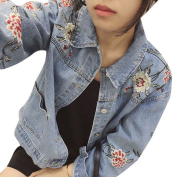 Uwback Floral Embroidered Denim Jacket Woman 2017 New Brand  Denim Coats Mujer Jeans Windbreak Oversized Jackets Women TB1274