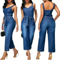 2018 Sexy Spaghetti Straps Denim Jumpsuits For Women Wide Leg Bodysuits Bandage Rompers and Playsuits