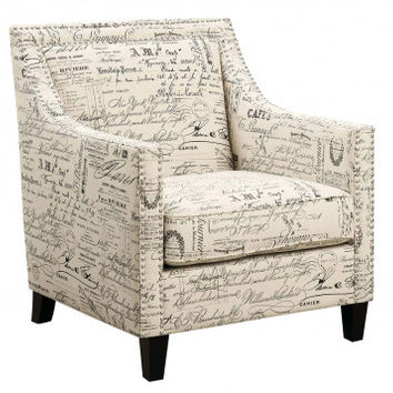 Patterned Arm Chair with Silver Details | Erica Script Accent Chair | American Freight