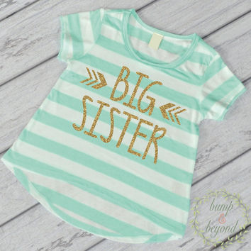Big Sister Shirt Sibling Big Sister T-Shirt Little Sister Shirts Big Sister Announcement Shirt Pregnancy New Baby T-Shirt Photo Prop 015
