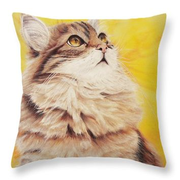 "Homesick Cat Throw Pillow for Sale by Kathleen Wong - 18"" x 18"""