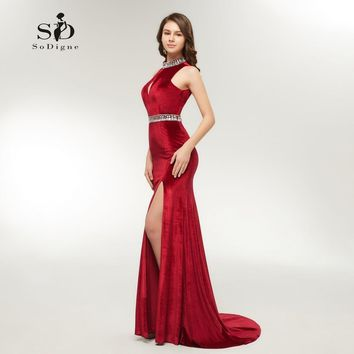 Sexy Red Formal Dress Mermaid Long Evening Dress 2018 Side Slit Long Party Dress Crystals Velet Backless Custom made