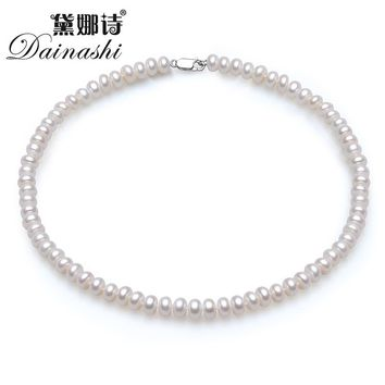Dainashi Classic 8-9mm semi-round natural pearl necklace for women girls fashion 925 Sterling Silver white pink purple 3 color