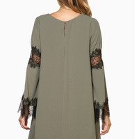 Gray Lace Patchwork Loose Dress