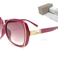 Dior Round Glasses Mirrored Flat Lenses Street Fashion Metal Frame Women Sunglasses [2974244674]