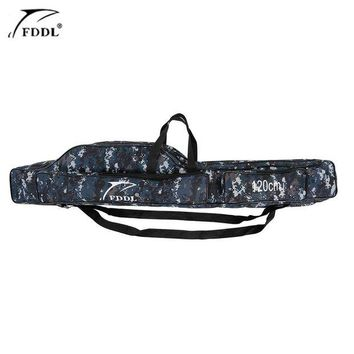 VONL8T 1.2/1.3/1.5m Canvas Fishing Bag Outdoor Multifunctional Fishing Rod Carrier Fish Pole Lure Storage Bag Case Fishing Tackle Pesca