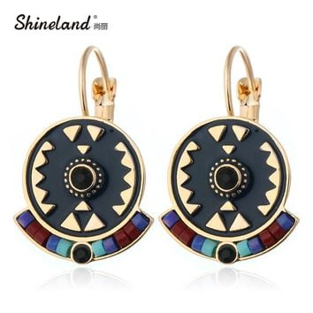 Shineland Indian Jewelry Boho Earrings Black Red Enamel Beads Rhinestone Round Carved Drop Ethnic Earring New Brincos For Women