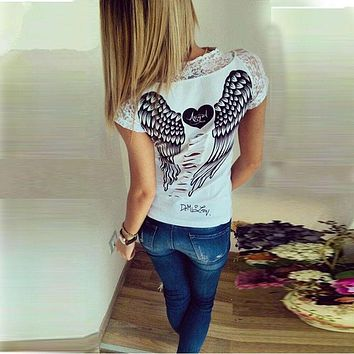 New spring summer T-shirts women unique angel wings back printing short sleeve loose tshirt ladies lager size t shirt women
