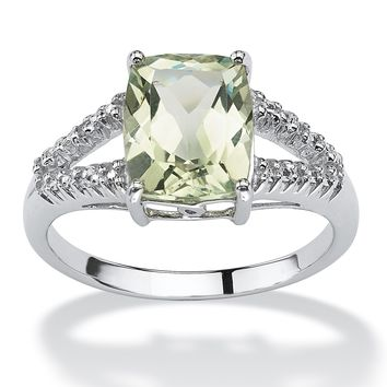 2.32-Carat Cushion-Cut Genuine Green Amethyst and Diamond Accent Platinum over Sterling Silver Ring