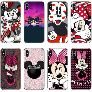 Cute Mickey & Minnie Kiss Mickey Mouse Hard PC Case for Apple iPhone 5S SE 6 6sPlus 7 7Plus 8 8Plus X Phone Back Cover Fundas