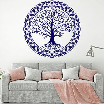 Vinyl Wall Decal Tree of Life Family Nature Celtic Style Ornament Stickers Unique Gift (1572ig)