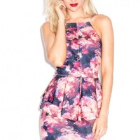 Oh My Love Touch It Floral Rose Print Square Neck Floral Peplum Mini Dress