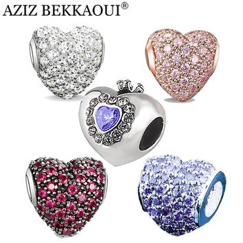 Original Crystal Heart Shape Beads Fit Pandora Bracelet CZ Crystal DIY Accessories Full Crystal Heart Women Jewelry Valentine