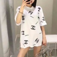 """Chanel"" Women Loose Casual Letter Logo Print Short Sleeve T-shirt Top Tee"