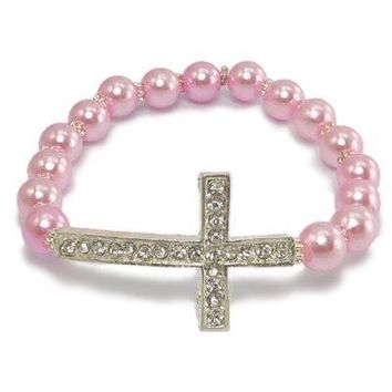 Stretchable Sideways Cross Bracelet With Faux Pink Colored Pearls Beads & Crystal Cross