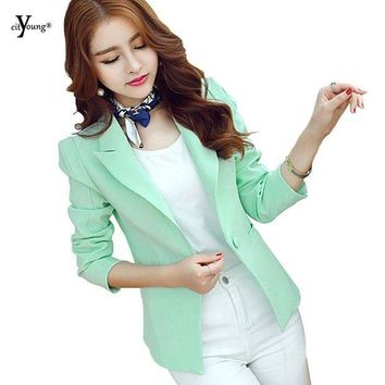 MDIGUS4 Women Blazers Blue and Mint Green Color Fashion and Simple Business Wear Or  Casual Outwear YMW-1134