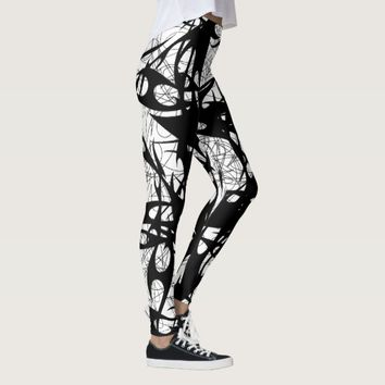 Tribal Graffiti Black Leggings