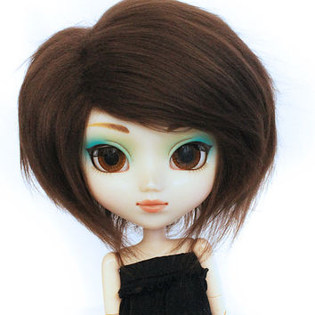 Pullip wig or SD wig dark brown fake fur wig No Slip Fit ™ MonstroDesigns ™