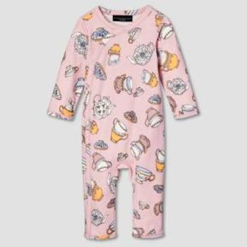 Baby Blush Long Sleeve Tea Party Printed Bodysuit - Victoria Beckham for Target