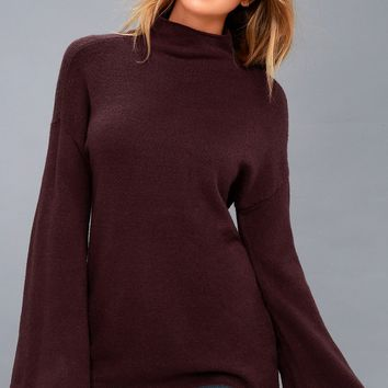 Skyler Plum Purple Mock Neck Sweater