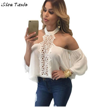 Women Blouses Sexy Off Shoulder White Lace Hollow Out Long Sleeve Blouse Summer Top Blusa Feminina #2809