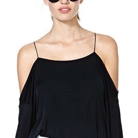 Black Off The Shoulder Strappy Crop Top